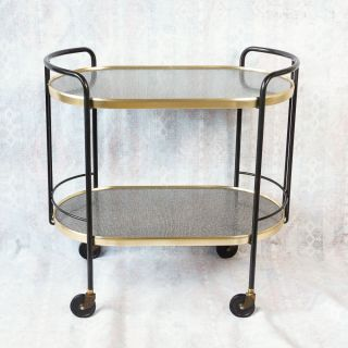 Mid Century Modern Bar Cart Black Gold Laminate Curved Tea Serving Cart Mad Men photo