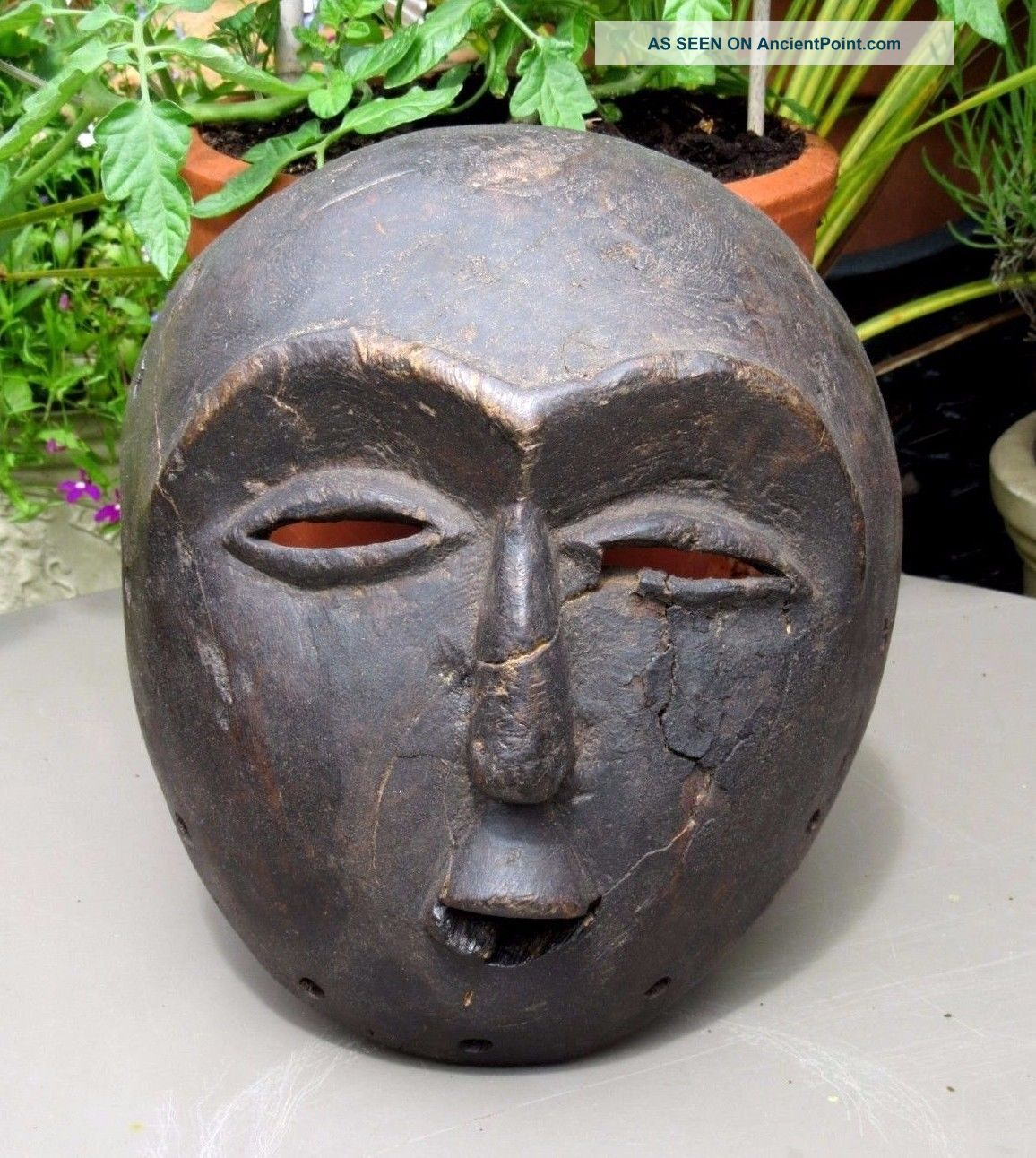 Antique Hand Carved Wood African Tribal Mask - Pretty Old Other African Antiques photo
