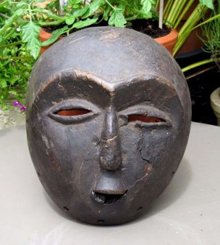 Antique Hand Carved Wood African Tribal Mask - Pretty Old photo
