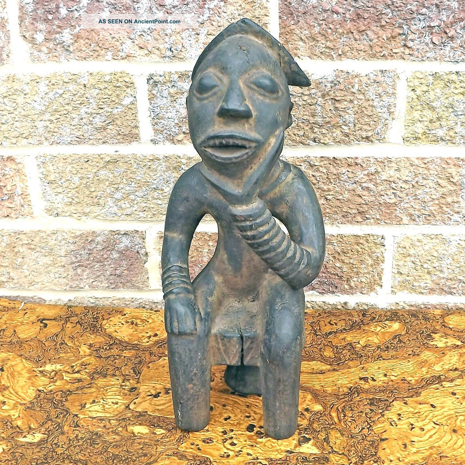 African Hand Carved Seated Man Thinker Statue - Scholar ? - Ethnic Wood Carving Other African Antiques photo