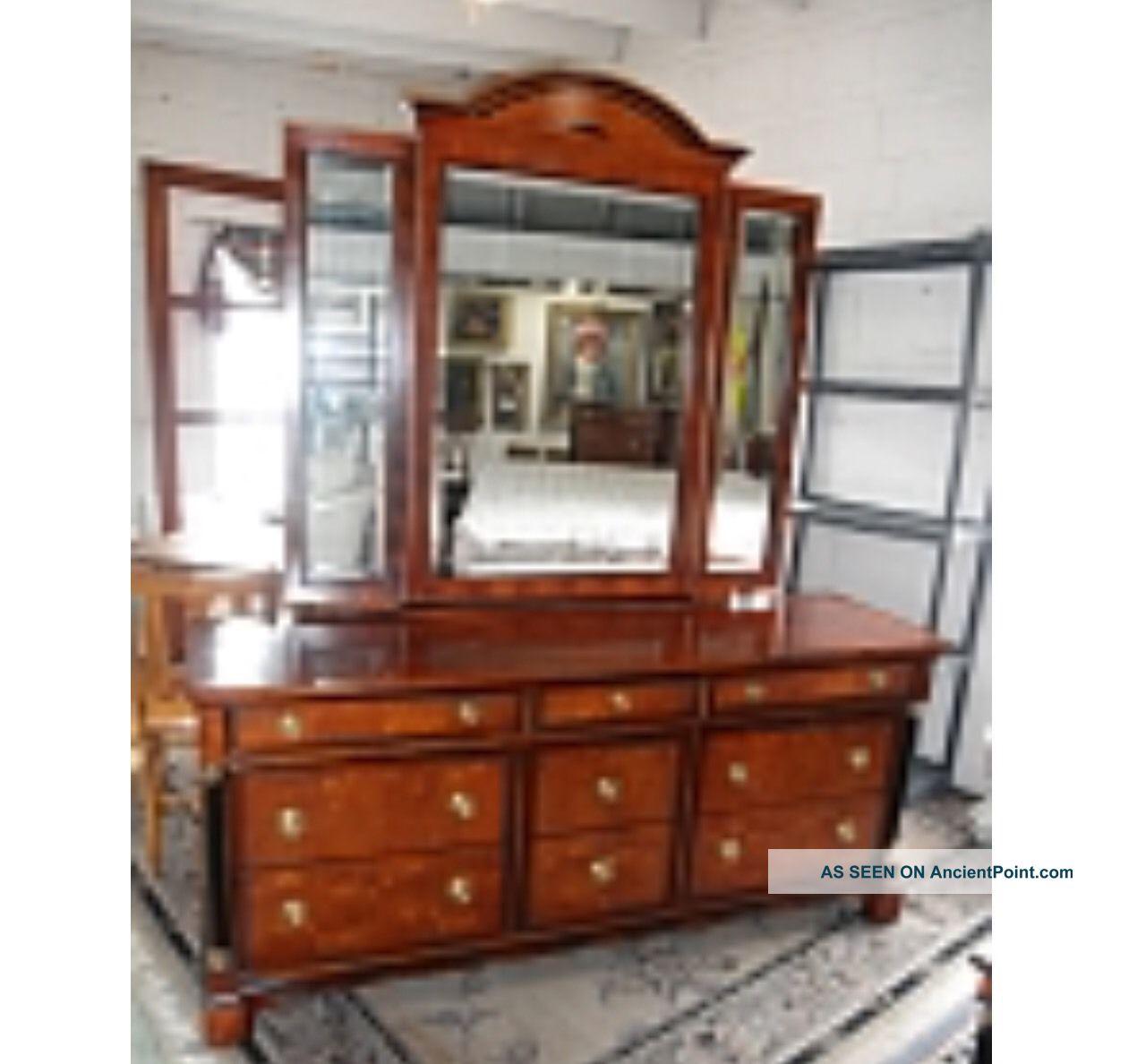 Century Furniture Capuan Biedermeier Style Triptych Mirror Dresser By R Sobota Post-1950 photo
