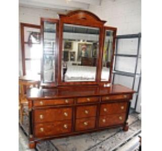Century Furniture Capuan Biedermeier Style Triptych Mirror Dresser By R Sobota photo