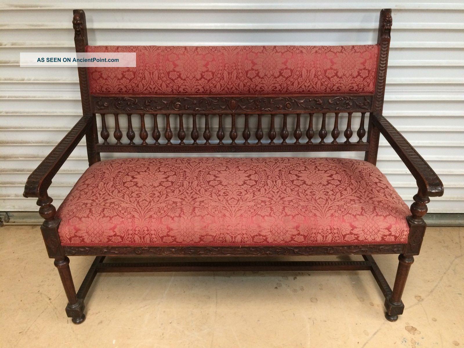 Antique English Mahogany Edwardian Settee W 48
