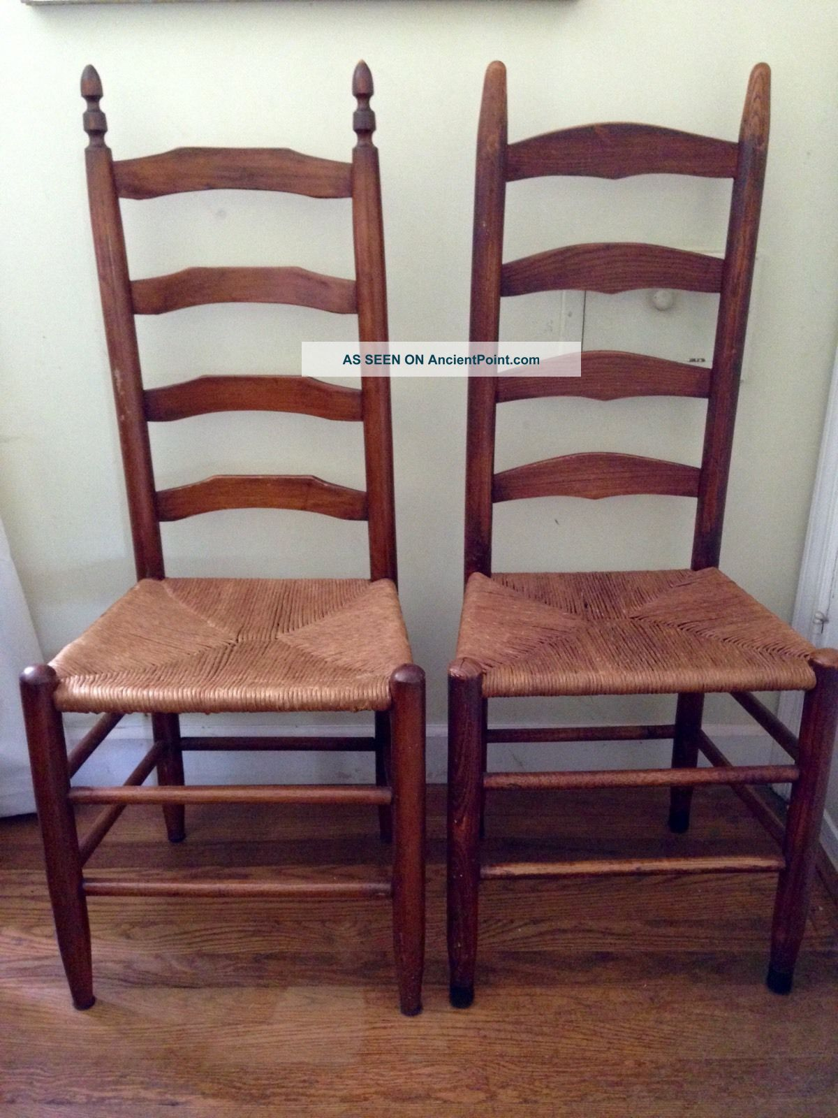 Antique Ladder Back Four Rung Rush Cane Seat Side Chairs - 1900-1950 photo