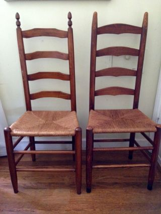 Antique Ladder Back Four Rung Rush Cane Seat Side Chairs - photo