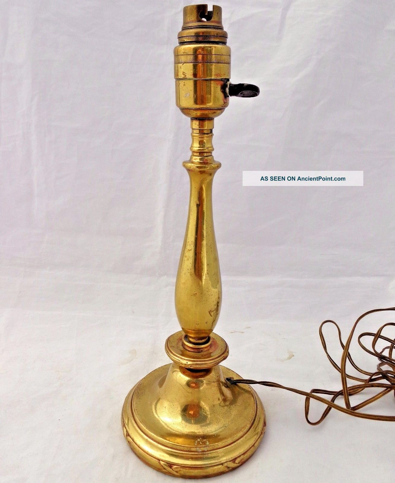 Antique Edwardian Brass Candlestick Shape Table Lamp Base 1900 - 1920 12 3/4 In Edwardian (1901-1910) photo