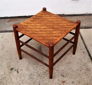 Antique Shaker Style Woven Cane/reed Foot Rest/foot Stool 15