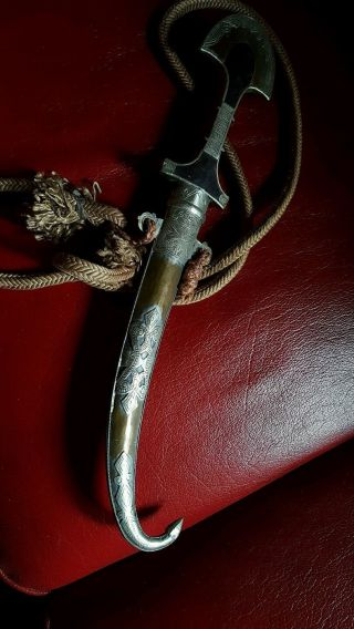 Antique Berbère Silver Koumia Jambyia With Rope Rosewood Morocco Knife Dagger photo