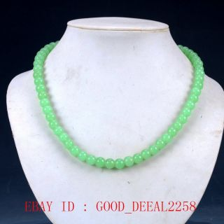 100 Natural Jade Handwork Carved Beaded Necklace Xl065 photo
