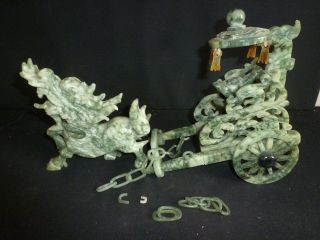Oriental Natural Jade Hand Carved Foo Dog - Dragon And Carrage Statue photo