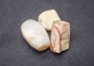 Group Of Three Ancient Egyptian Stone Beads,  Middle Kingdom 1600 Bc photo
