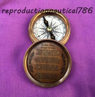 Handmade Antique Solid Brass Compass Vintage Maritime Nautical Compass photo