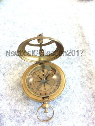 Nautical Solid Brass Push Button Compass 2.  5