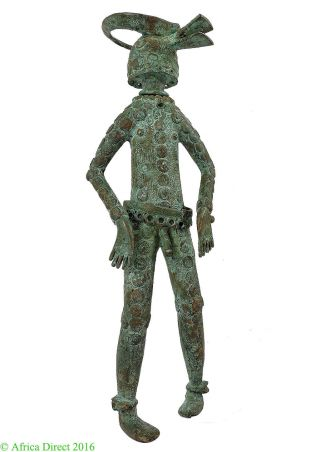 Chamba Bronze Male Nigeria African Art Miniature Was $315.  00 photo