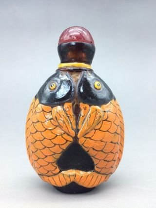 Chinese Glass Snuff Bottle Pure Hand Carved Pisces Statue photo