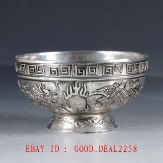 Chinese Silver Hand Painted Dragon & Phoenix Bowl Zj64 photo