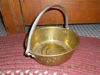 18th Century Small Size Brass Kettle W Rolled Edge And Applied Hf Iron Handle photo