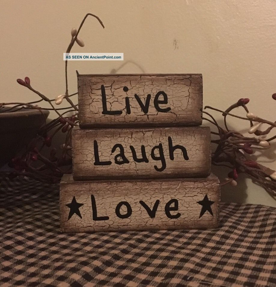 Primitive Crackle Block Sign Wood Black Tan Country Decor Star Live Laugh Love Primitives photo