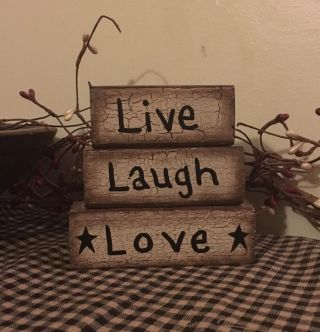 Primitive Crackle Block Sign Wood Black Tan Country Decor Star Live Laugh Love photo
