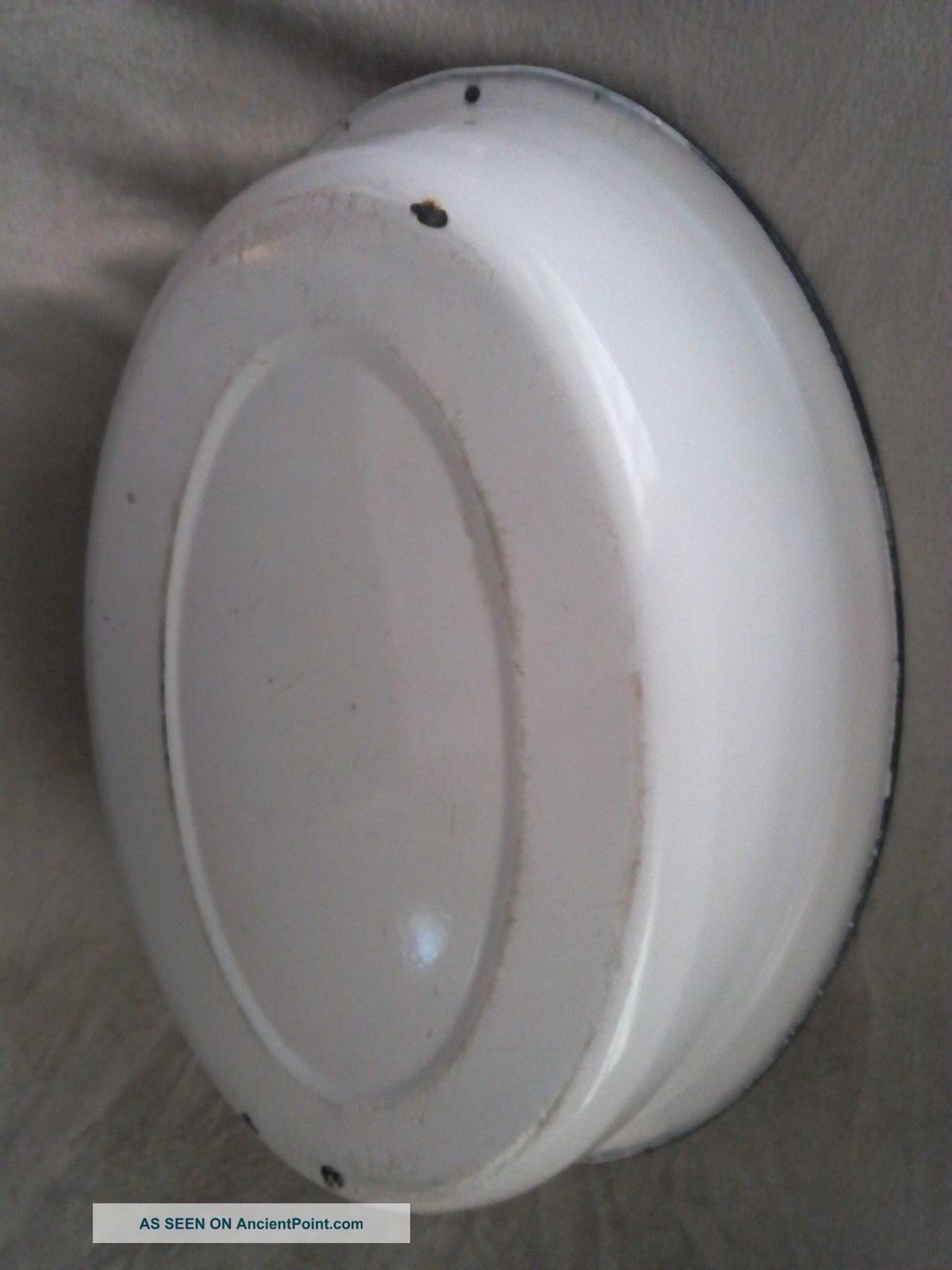 Vtg Antique Old Porcelain Enamel Baby Bath Tub Wash Basin White ...
