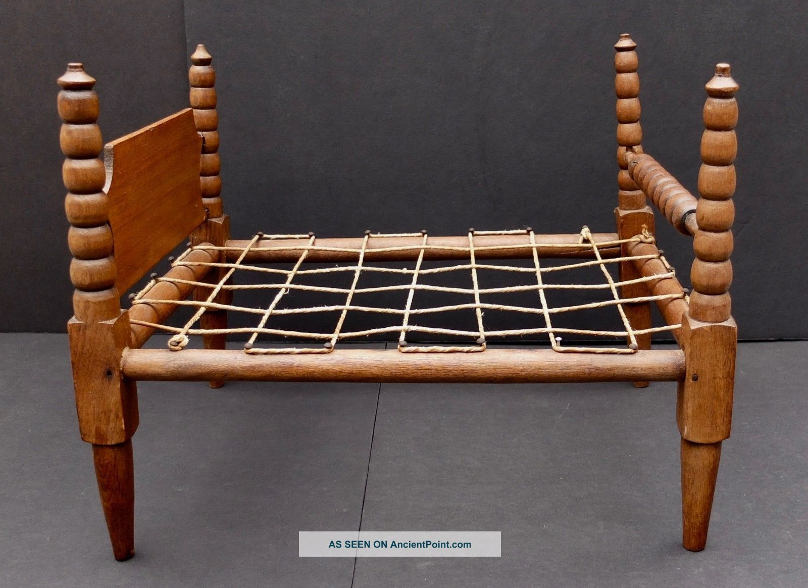 Antique Hand Made 4 Poster Doll Bed With Spindles & Rope - A Salesman Sample? 1800-1899 photo