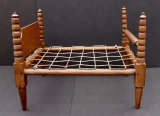 Antique Hand Made 4 Poster Doll Bed With Spindles & Rope - A Salesman Sample? photo