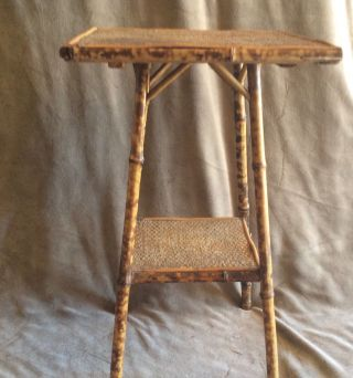 Victorian Circa 1860 English Colonial Bamboo & Cane Side Table photo