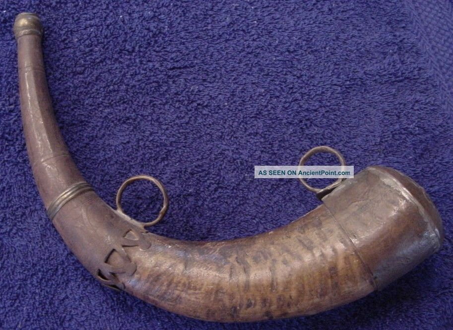 Antique Powder Horn W/ Metal Cap & Spout - North Africa - Morroco - 19th Century Other African Antiques photo