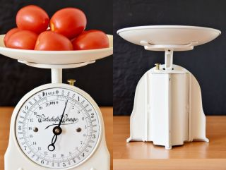 Old Style,  Vintage,  Antique,  Shabby Chic,  German Restored White Kitchen Scale photo