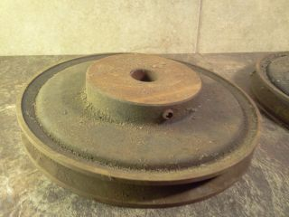 Old Antique Industrial Decor Steel And Iron V - Belt Pulleys? - Steampunk Art photo