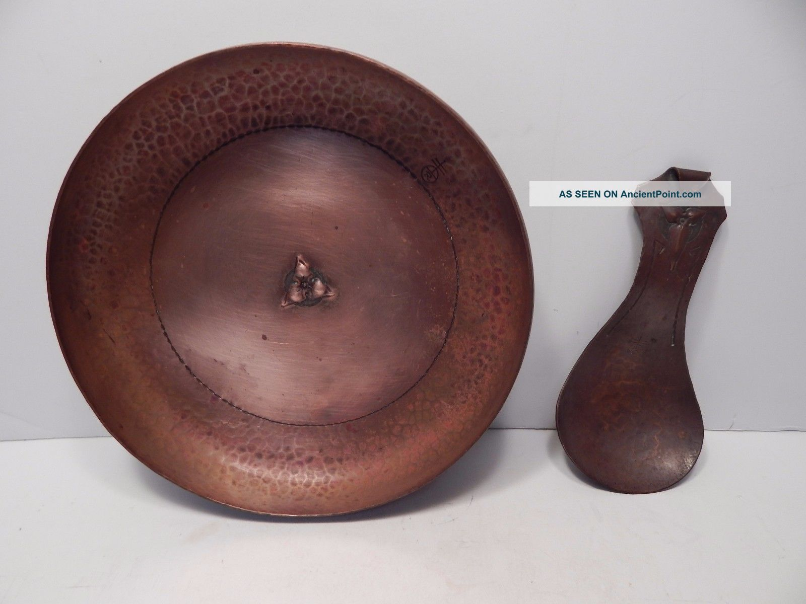 Large Roycroft Hand Hammered Copper Serving Bowl & Spoon W/ Floral Design Arts & Crafts Movement photo