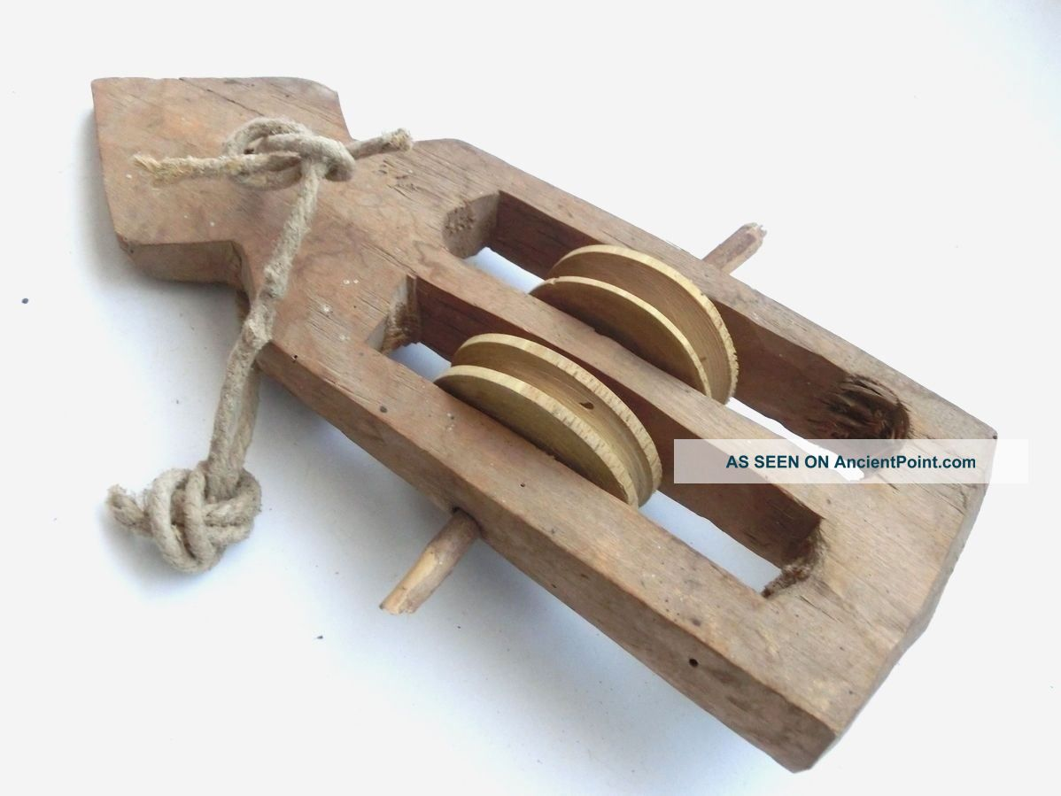 Antique Weaving Loom Part Primitive Wooden Carved Pulley Harness Healds 5 Primitives photo