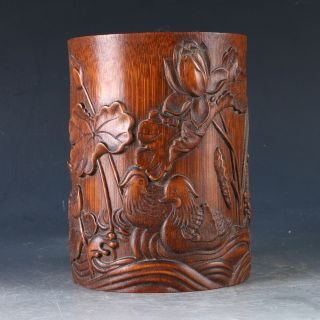 Chinese Bamboo Pole Hand Carved Mandarin Duck & Lotus Brush Pot Dy0501 photo