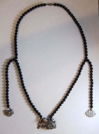 "Antique Chinese 6mm Onyx Bead Silver Dragon & Charms Necklace 25"" 56g photo"
