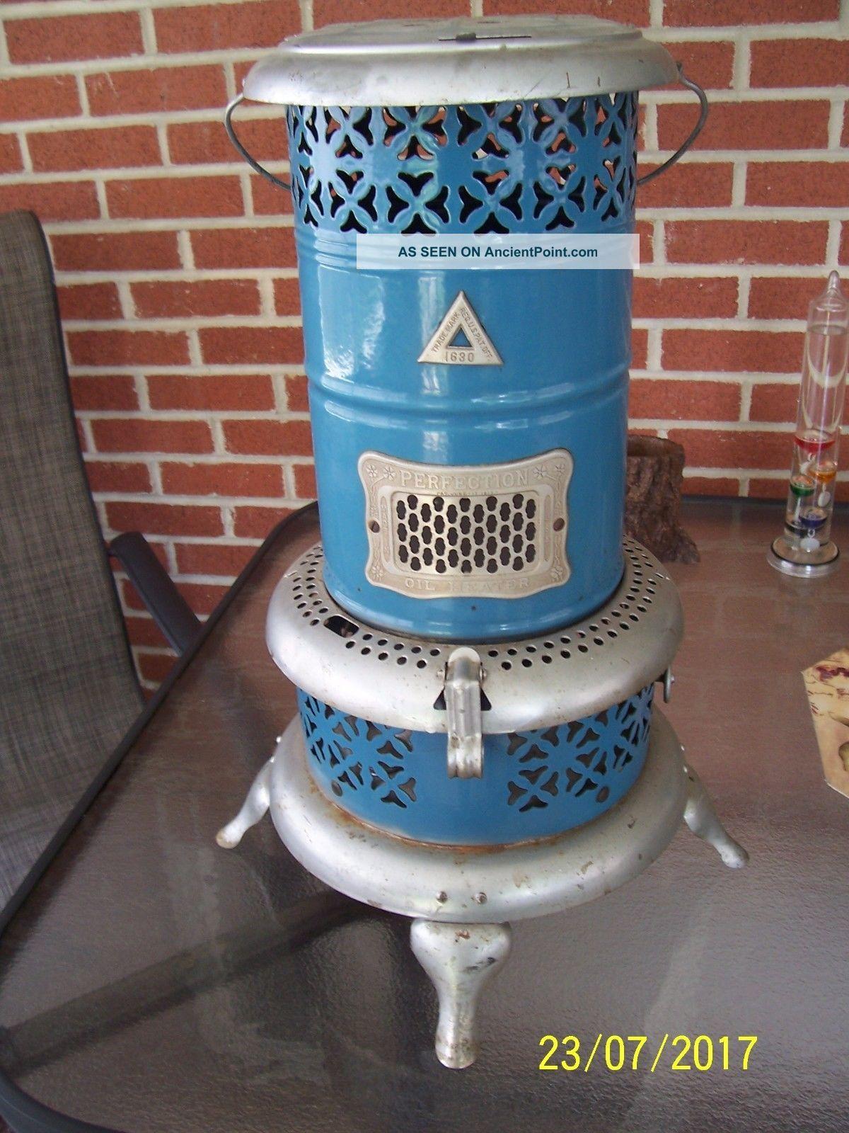 Vintage Blue Porcelain Smokeless Heater Perfection 1630 Stoves photo