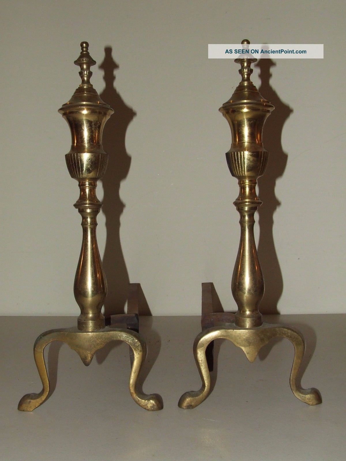 Vintage Brass French Victorian Style Fireplace Andirons Fireplaces & Mantels photo