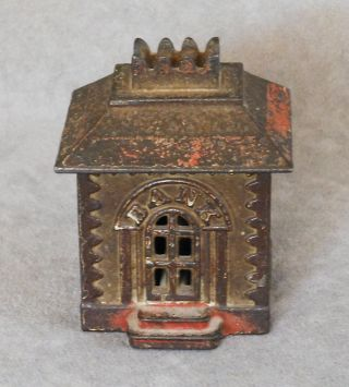 Vintage Cast Iron Still Bank Architechual Toy Building With Windows Coin 3