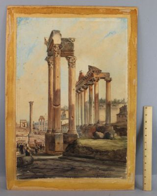 Antique 1883 Vincenzo Giovannini Roman Columns Ruins Italian Watercolor Painting photo
