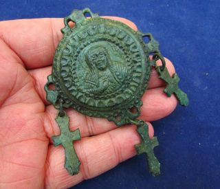 Huge Byzantine Encolpion Amulet & Crosses 12 - 14th Century Ad (2558) photo