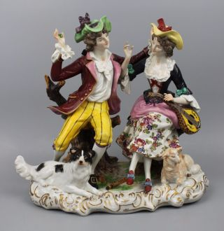 Rudolstadt Ernst Bohne Sohne Figurine Couple With Sheep And Dog Worldwide photo