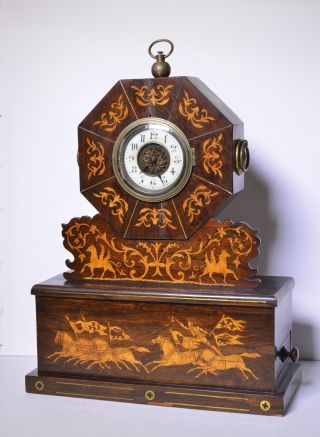 Antique Marquetry Biedermeier Clock W Drawer с 1840 ' S photo