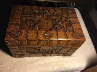 Mahogany Hand Carved Wooden Box photo