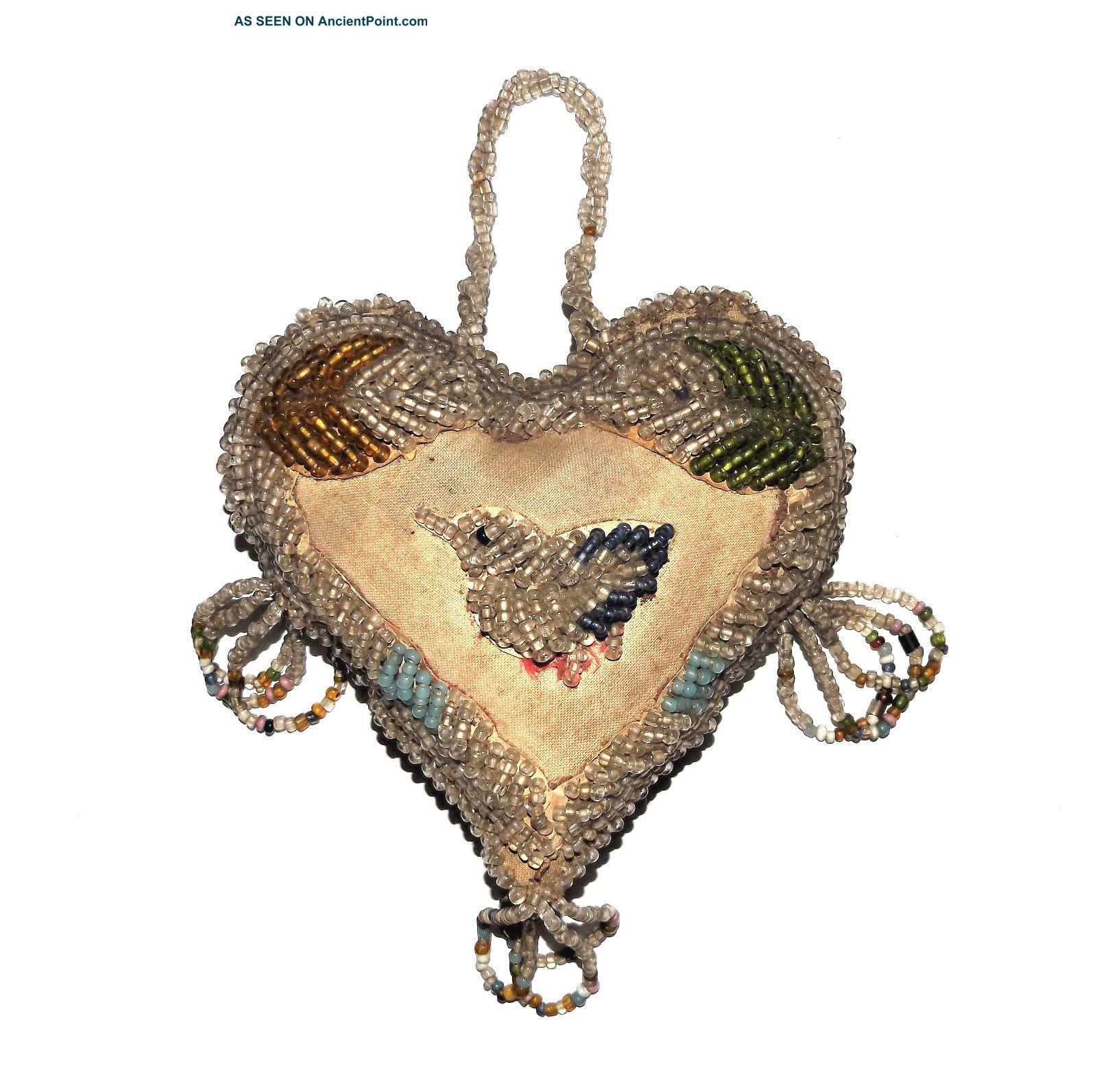 Antique Iroquois 1900 Native American Indian Vtg Beadwork Bird Heart Pincushion Native American photo