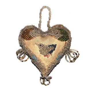 Antique Iroquois 1900 Native American Indian Vtg Beadwork Bird Heart Pincushion photo