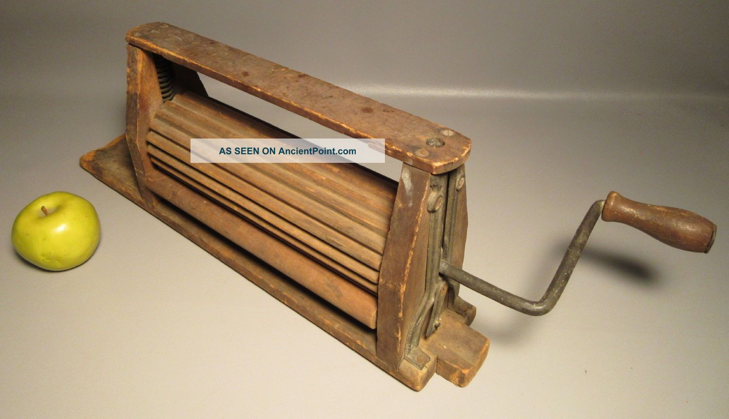 1871 Antique Wood Clothes Wringer For Doing Laundry W/metal Hand Crank Clothing Wringers photo