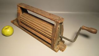 1871 Antique Wood Clothes Wringer For Doing Laundry W/metal Hand Crank photo