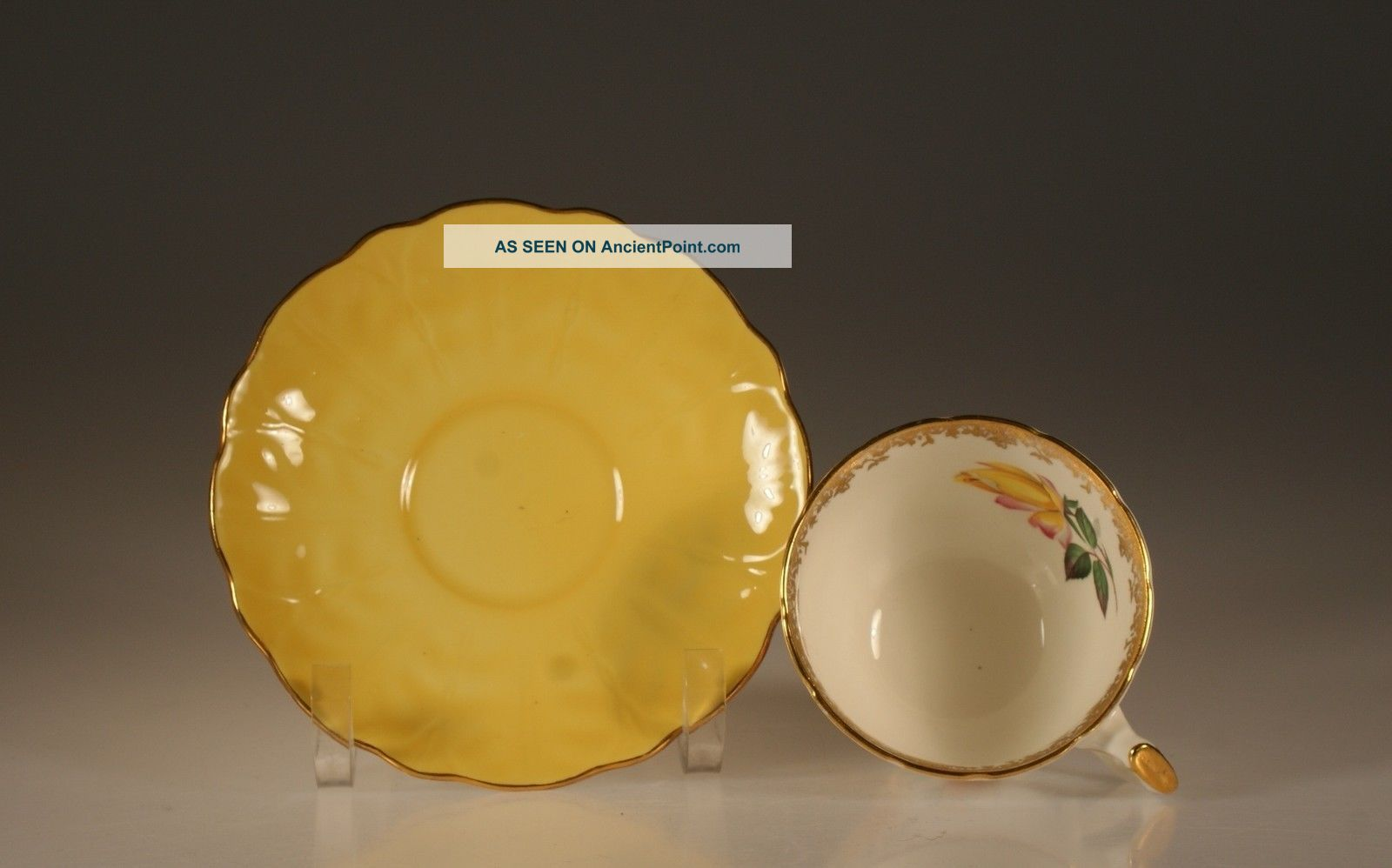 Aynsley Yellow Rose Crocus Shape Cup And Saucer C.  1930 ' S,  England Cups & Saucers photo