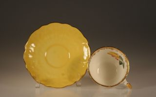 Aynsley Yellow Rose Crocus Shape Cup And Saucer C.  1930 ' S,  England photo