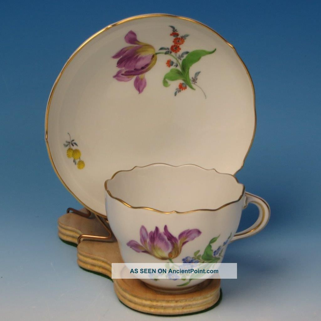 Early Meissen Crossed Swords - Floral Cup And Saucer Cups & Saucers photo
