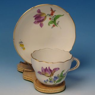 Early Meissen Crossed Swords - Floral Cup And Saucer photo